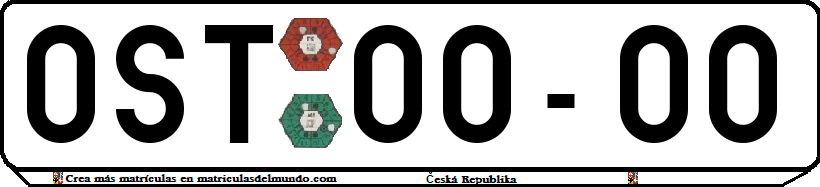 Genera y crea tu propia matricula de la Republica Checa sistema anterior sin eurobanda checoslovaquia gratis / Generate your own old czech license without eurobande blue bande cs plate for free