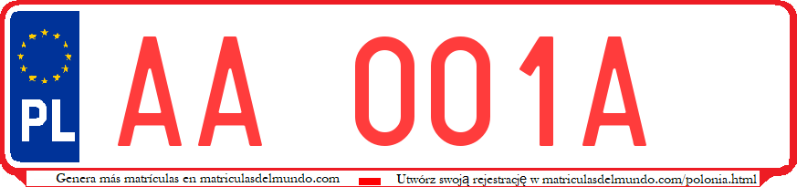 Genera y crea tu propia matricula de Polonia temporal roja sin pegatina gratis / Generate your own polish temporary test in red sticker system license plate for free