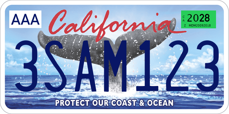Genera y crea tu propia matricula de california COLA DE BALLENA animalesimagen gratis actual letras AZULES fuente/ Generate your own United States CALIFORNIA white tail free license plate image from normal system for free VERSION COMPLETA FINAL