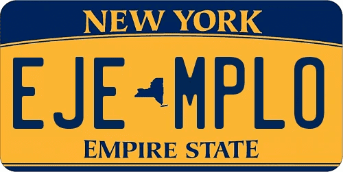 Genera y crea tu propia matricula de Nueva York de sistema normal gratis imagen dibujo estados unidos/ Generate your own United States NEW YORK fake free license plate image from normal system for free